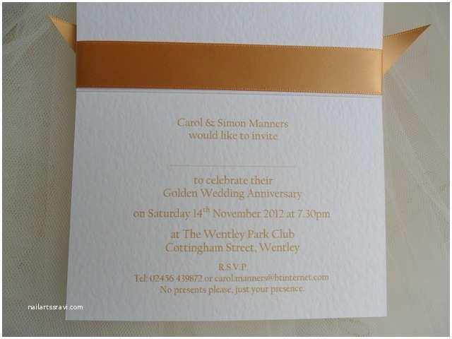 Golden Wedding Anniversary Invitations 60p Each 50th Golden Wedding Anniversary Invitations