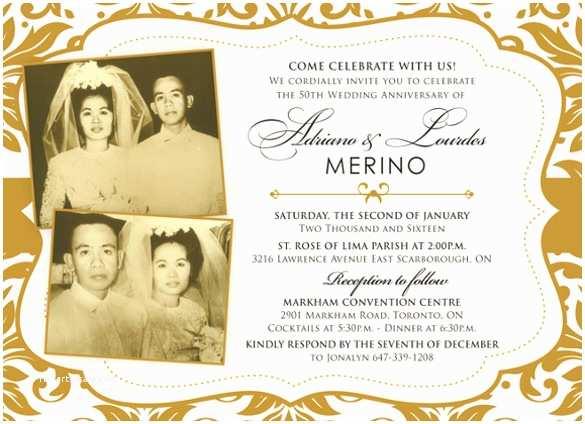 Golden Wedding Anniversary Invitations Anniversary Invitation Templates – 28 Free Psd