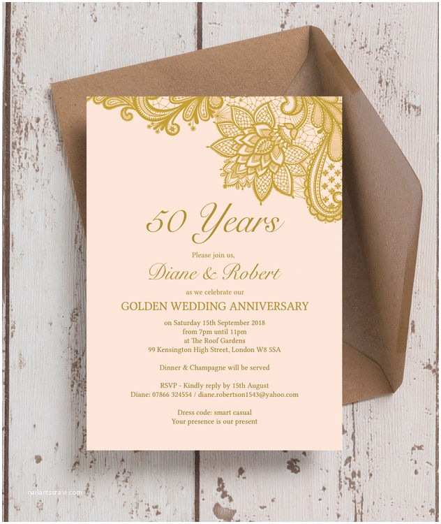 Golden Wedding Anniversary Invitations Gold Lace Inspired 50th Golden Wedding Anniversary
