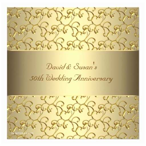 Golden Wedding Anniversary Invitations Gold Swirls Gold 50th Wedding Anniversary Party Invitation