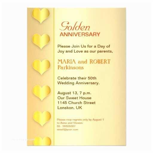 Golden Wedding Anniversary Invitations Golden Wedding Anniversary 50th Invitation Golden