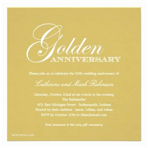 "Golden Wedding Anniversary Invitations Golden Wedding Anniversary Invitation 5 25"" Square"