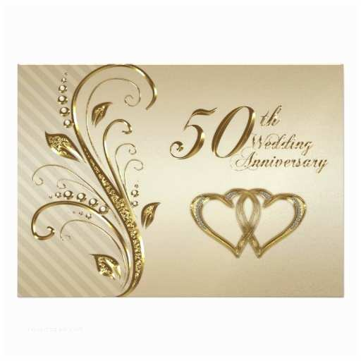 "Golden Wedding Anniversary Invitations Golden Wedding Anniversary Invitation Card 5"" X 7"