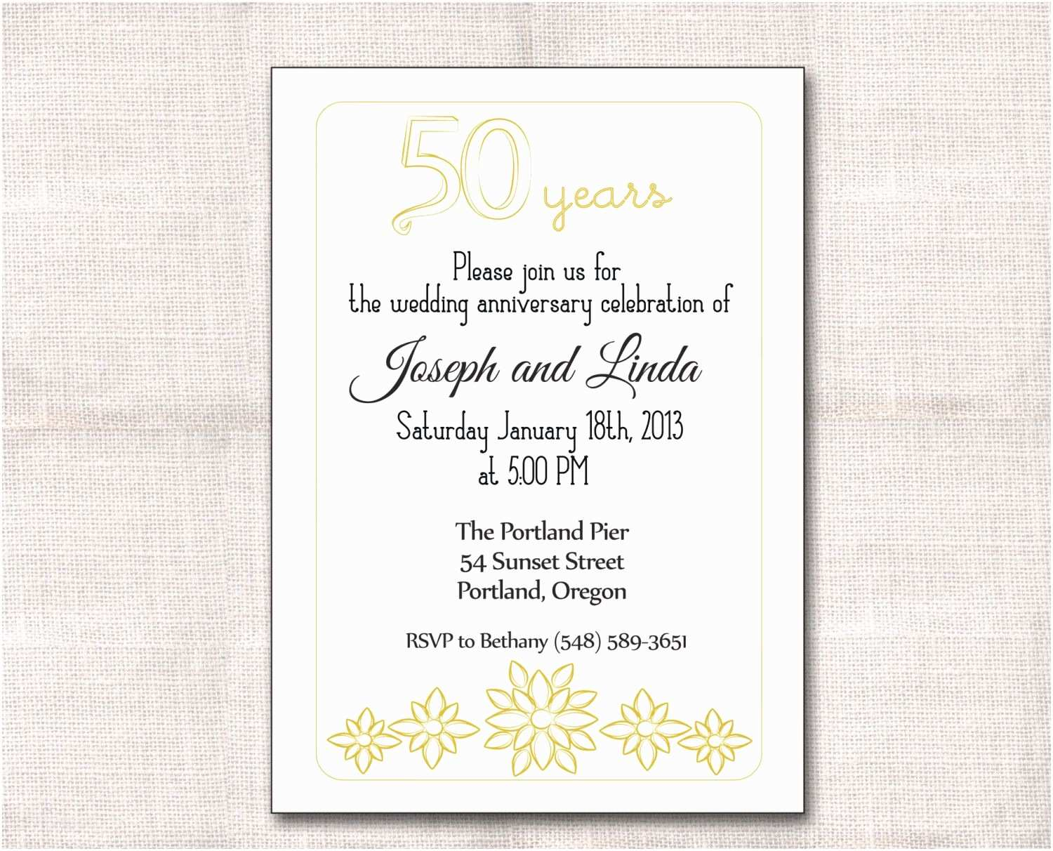 golden wedding anniversary invitation cards