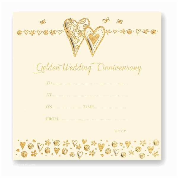 Golden Wedding Anniversary Invitations Golden Wedding Anniversary Invitations Pack Of 10