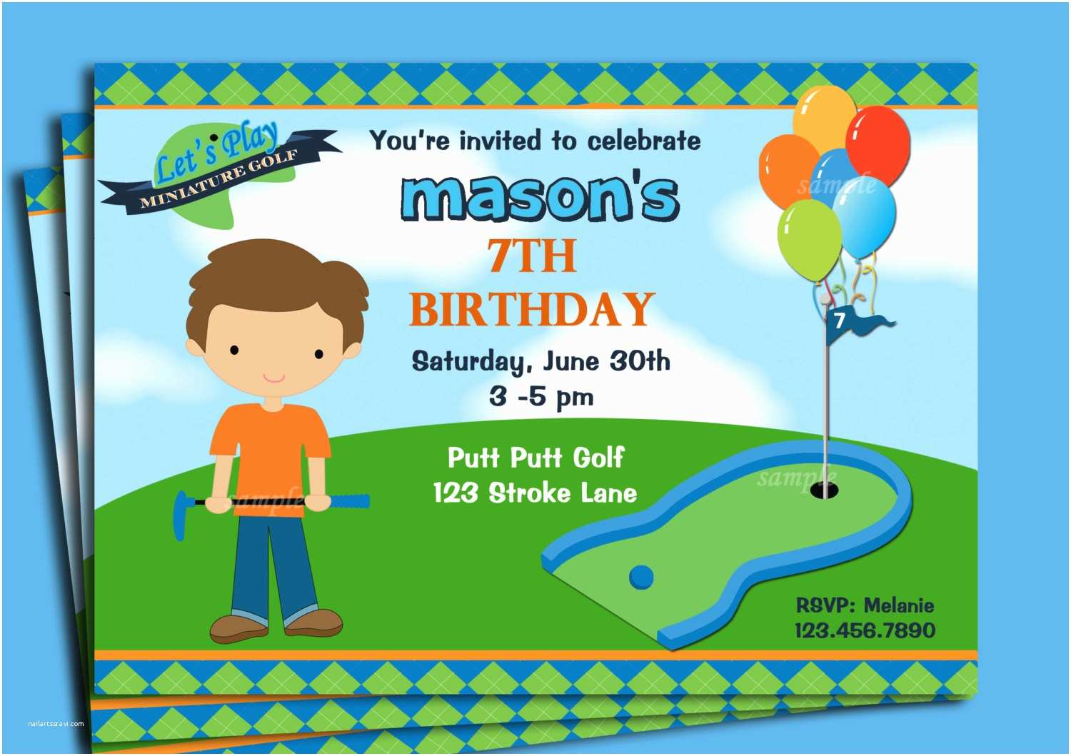 Golf Party Invitation Boy S Golf Invitation Printable or Printed with Free