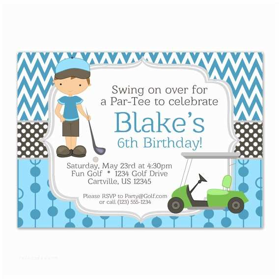 Golf Party Invitation Golf Invitation Blue Chevron and Boy Golfer with A Lime