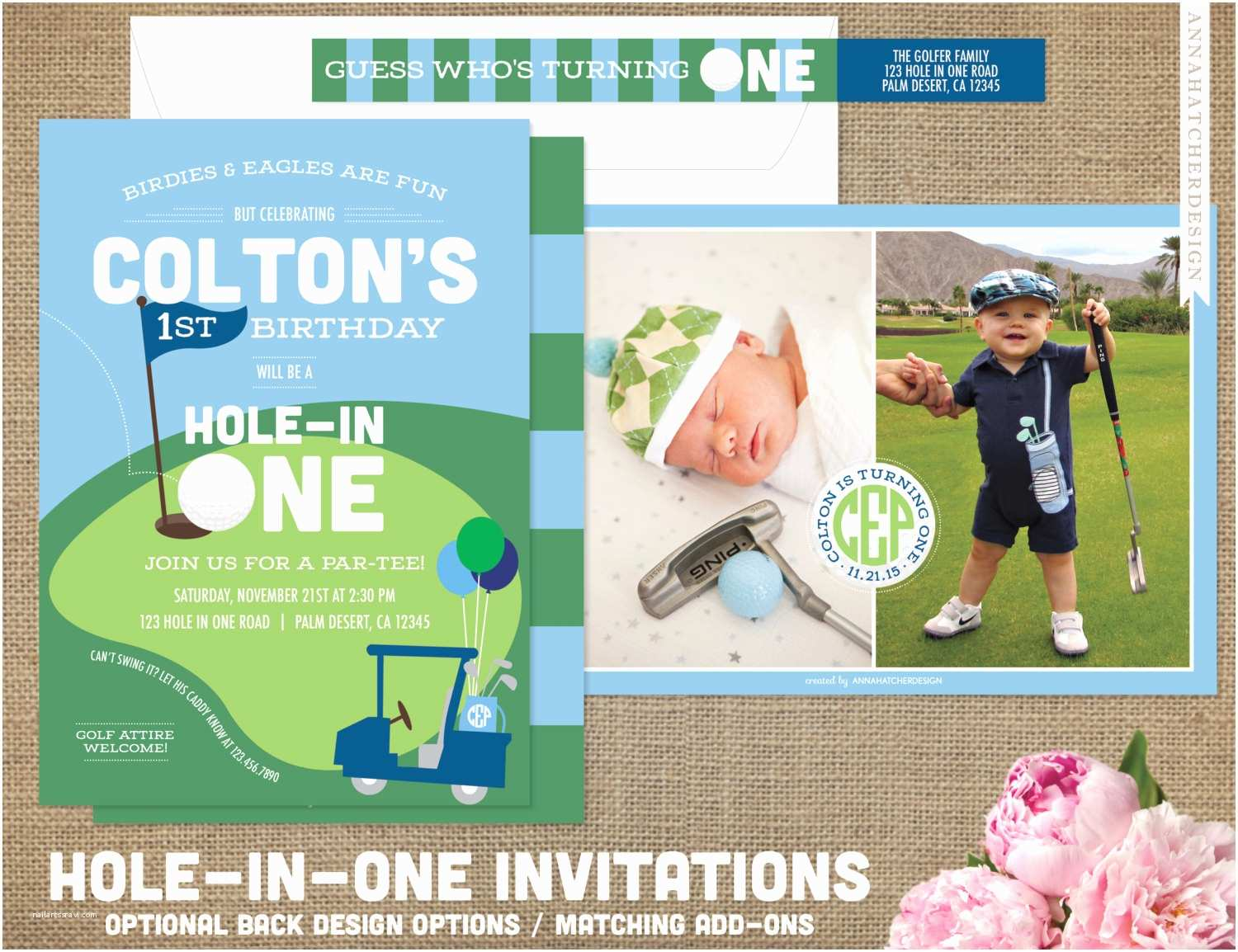 Golf Party Invitation Hole In E Golf Birthday Invitations Golf Ball Golf Cart