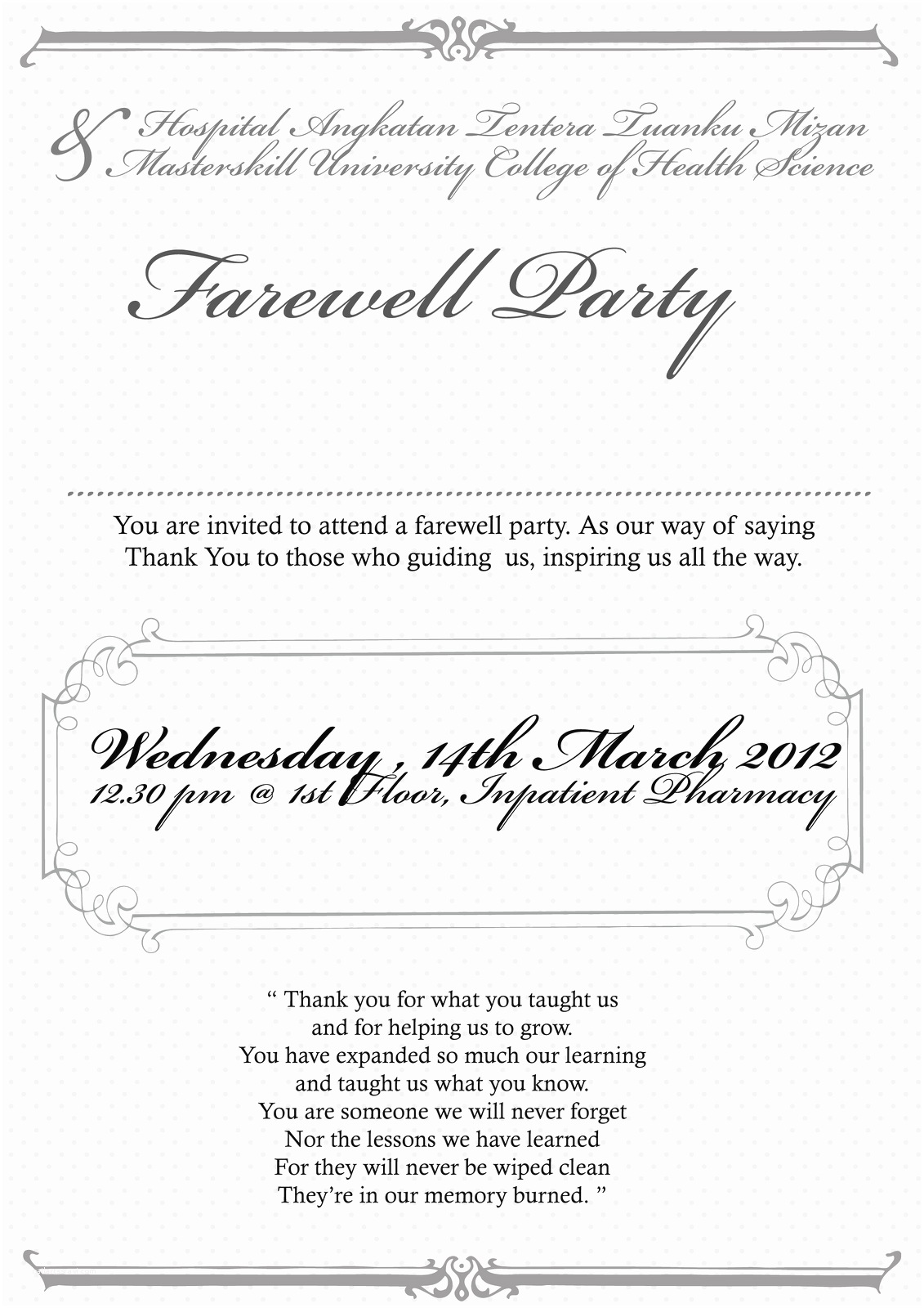 Goodbye Party Invitation Farewell Party Invitation Wording