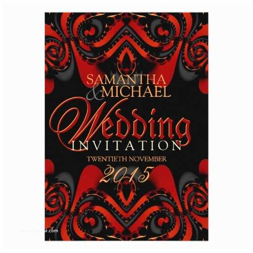 "Gothic Wedding Invitations Exotic Red Black Gothic Wedding Invitations 5"" X 7"