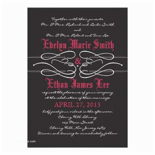 "Gothic Wedding Invitations Gothic Swirl Wedding Invitation 5"" X 7"" Invitation Card"