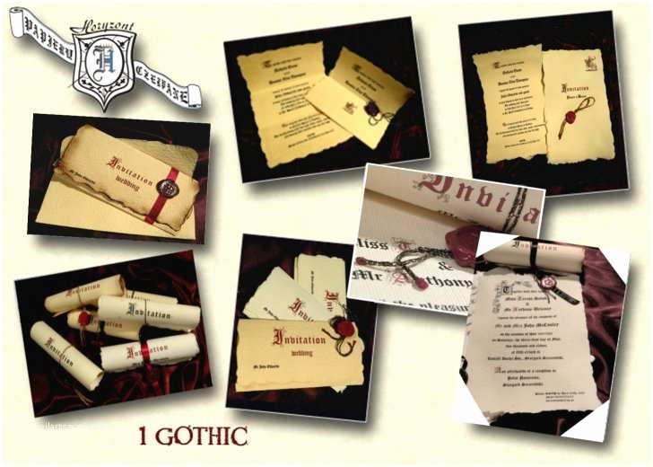 Gothic Wedding Invitations Parchment Wedding Invitations Marvelous Gothic Style