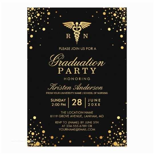 Grad Party Invitations Black Gold Medical Nursing School Graduation Party Card