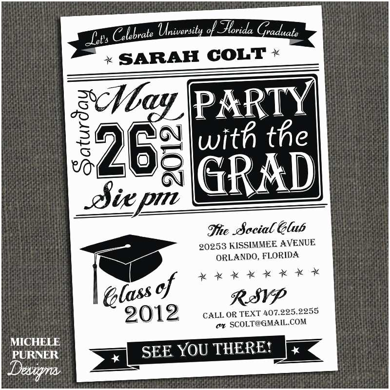 Grad Party Invitations High School or College Graduation Party by