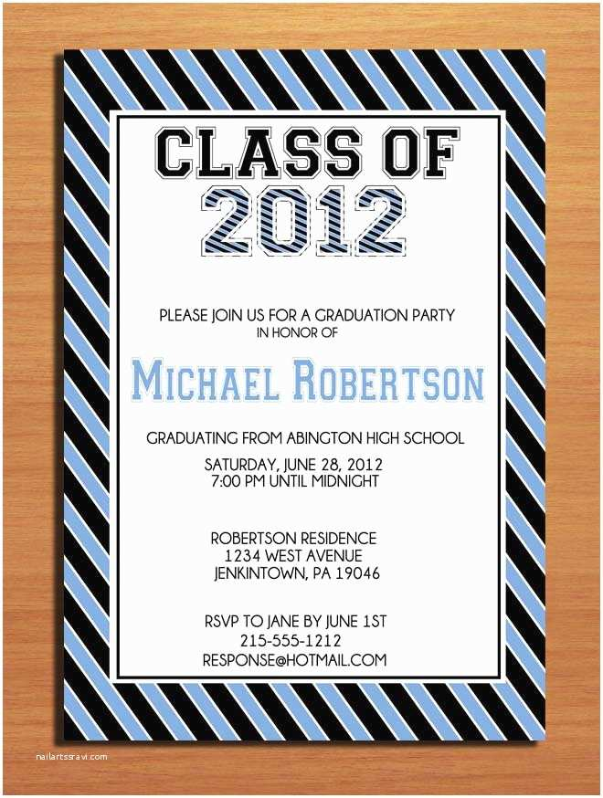 Grad Party Invites Collegeiate Stripes Graduation Party Invitation Cards