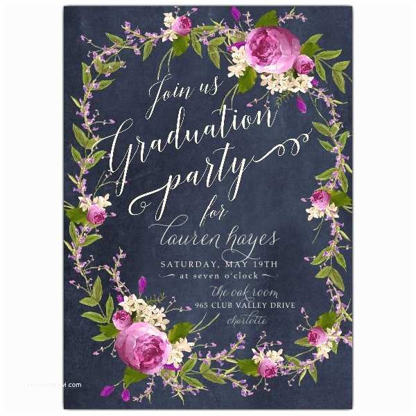 Grad Party Invites Floral Bouquet Wreath Blue Chalk Graduation Party