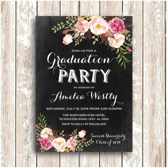 Grad Party Invites Floral Graduation Invitation Printable Chalkboard Graduation