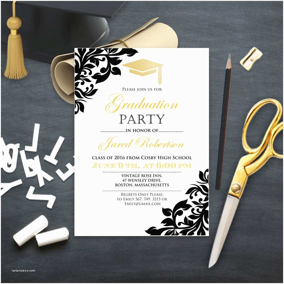 Grad Party Invites Graduation Party Invitation College Printable Template Girl