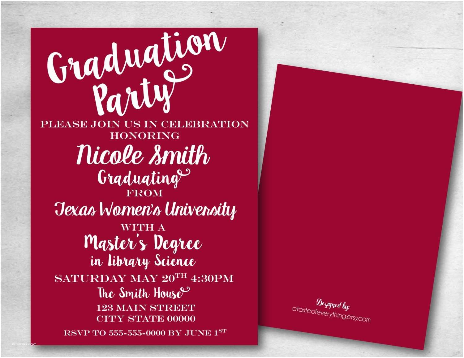 Grad Party Invites Graduation Party Invitation Save the Date College Masters Diy