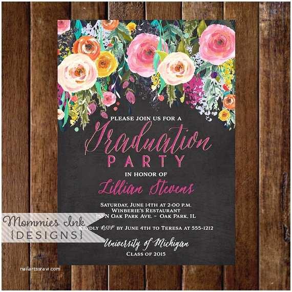 Grad Party Invites Graduation Party Invitation Watercolor Flowers Invitation