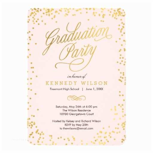 Grad Party Invites Shiny Confetti Graduation Party Invitation Pink Invitation