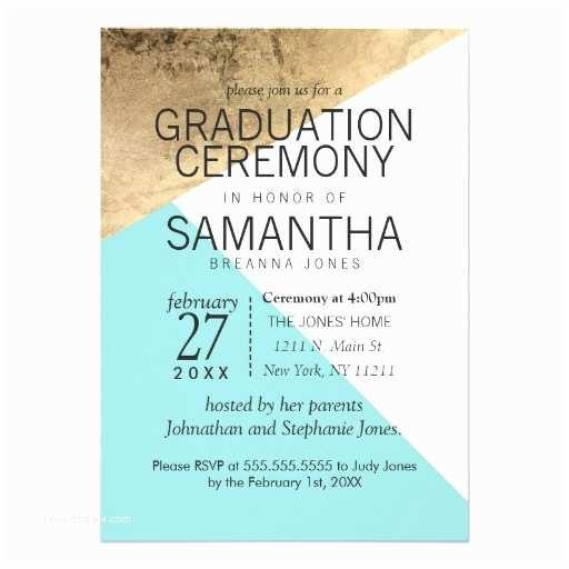 Graduation Ceremony Invitation Gold Blue White Geo Triangles Graduation Ceremony 5x7