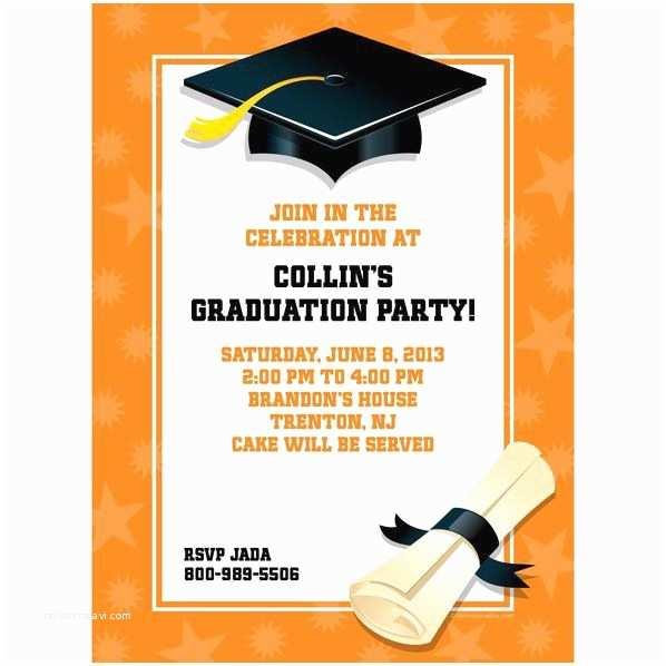 Graduation Invitations Cheap orange Graduation Personalized Invitation Each