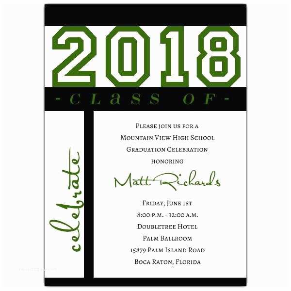 Graduation Invitations Class Of Celebration Green Graduation Invitations
