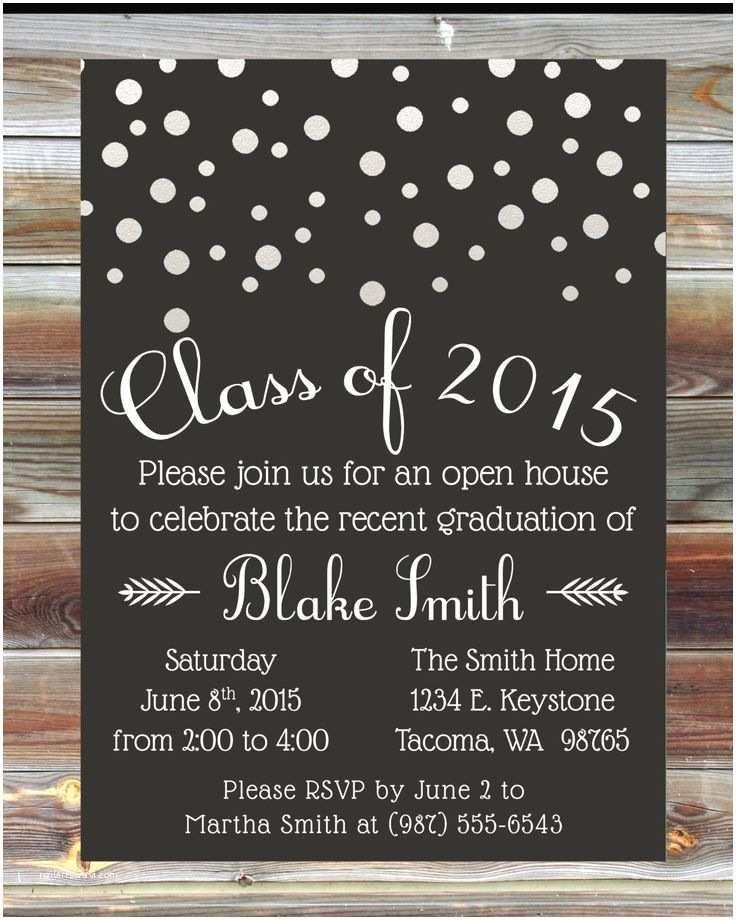 Graduation Open House Invitation Wording Graduation Party Invitation Custom Color Graduation Open