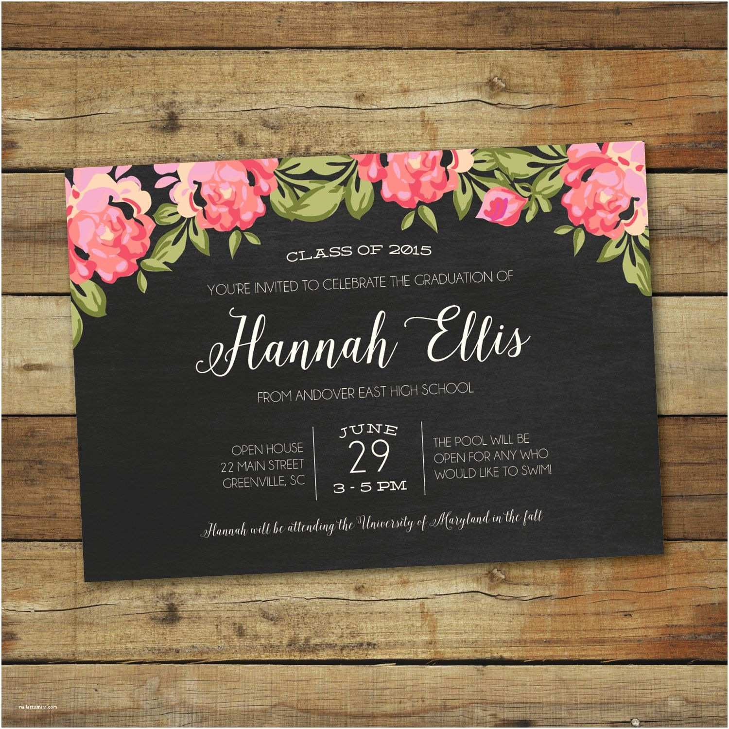 Graduation Open House Invitations Roses Graduation Party Invitation Floral Graduation Open