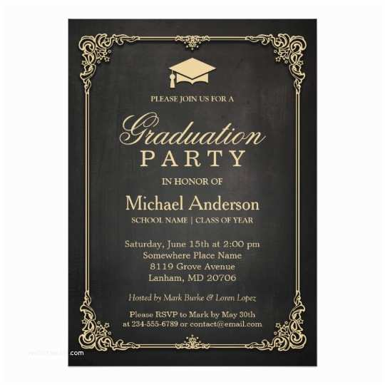 Graduation Party Invitation Elegant Black Gold Vintage Frame Graduation Party Card