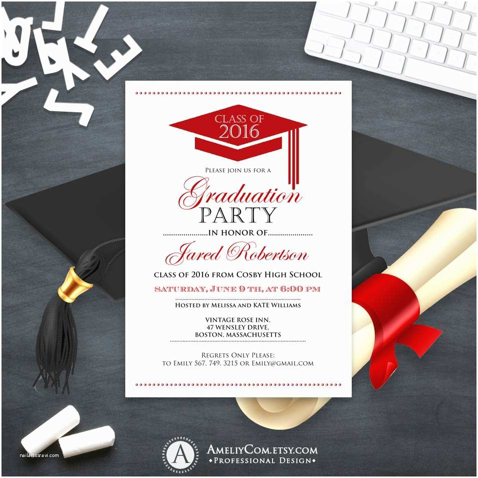Graduation Party Invitation Graduation Announcement Boy Printable Template Red High School