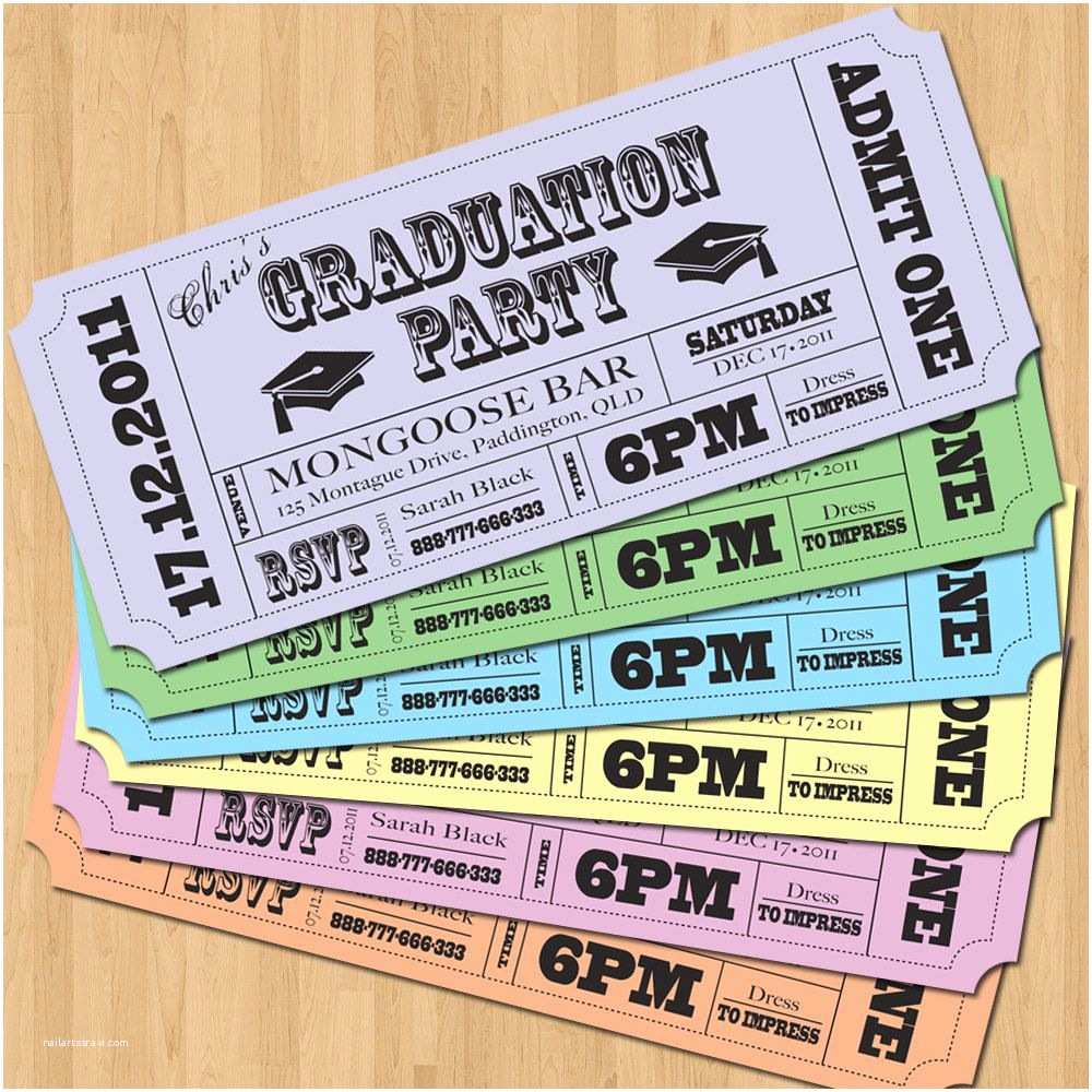 Graduation Party Invitation Ideas Graduation Party Invitations Vintage Ticket Style Diy