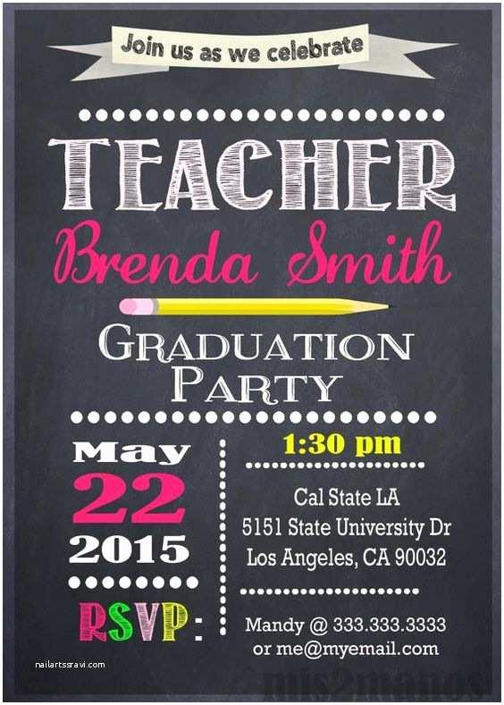 Graduation Party Invitation Ideas Teacher Education Degree Graduation Invitation