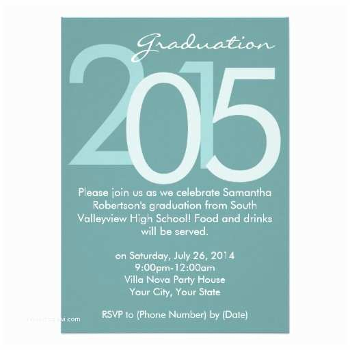 Graduation Party Invitations 2015 Blue Typographic Graduation Party Invitation