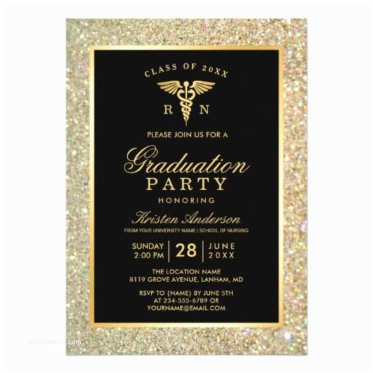 Graduation Party Invitations 2018 2018 Gold Medical Nursing School Graduation Party Card