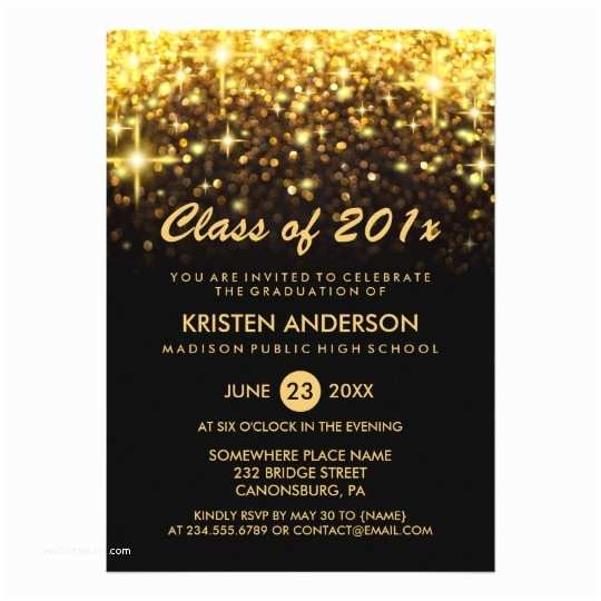 Graduation Party Invitations 2018 Class Of 2018 Graduation Gold Glitter Glam Sparkle Card
