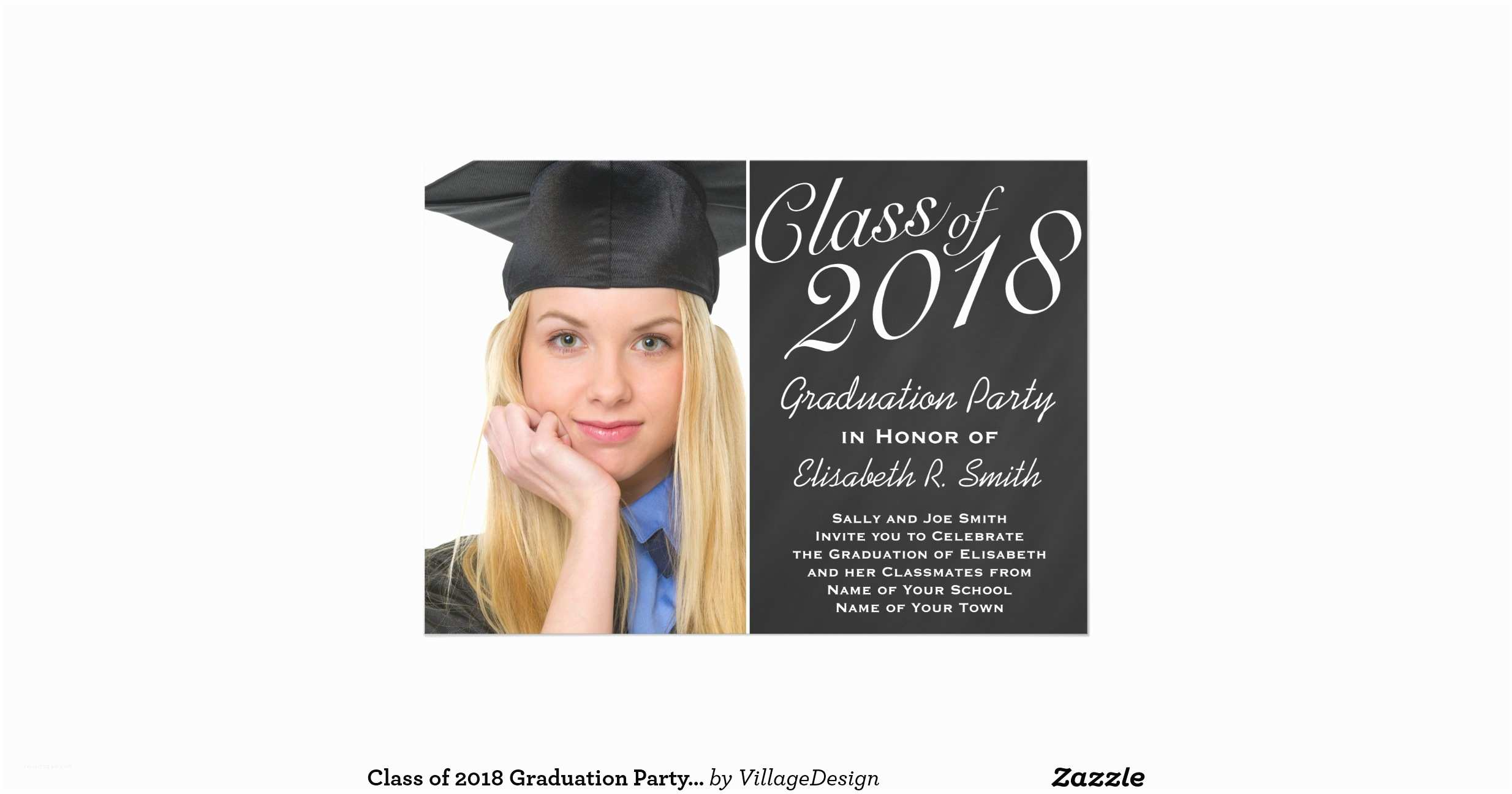 Graduation Party Invitations 2018 Class Of 2018 Graduation Party Chalkboard Portrait 5x7