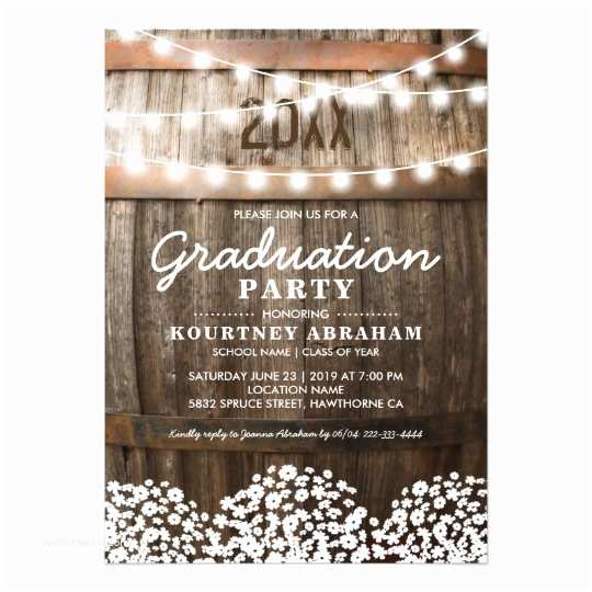 country rustic graduation party class of 2018 card