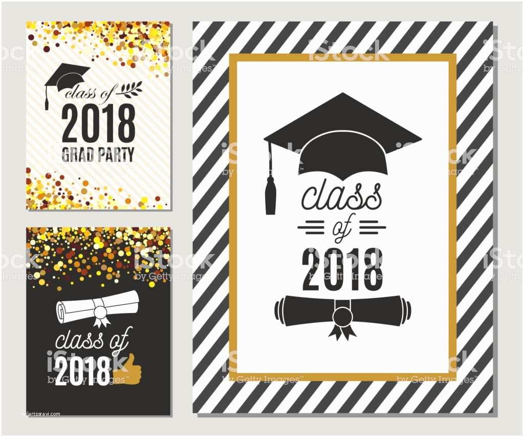 Graduation Party Invitations 2018 Graduation Class 2018 Greeting Cards Set with Gold