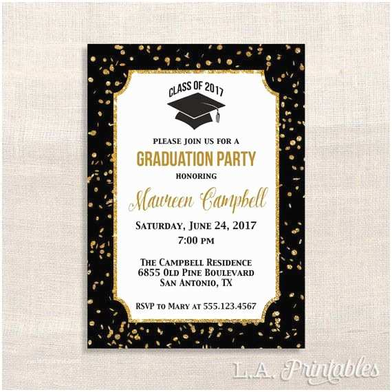 Graduation Party Invitations 2018 Graduation Party Invitation Black and Gold Glitter