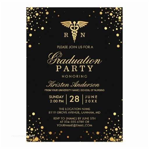 Graduation Party Invitations Black Gold Medical Nursing School Graduation Party Card
