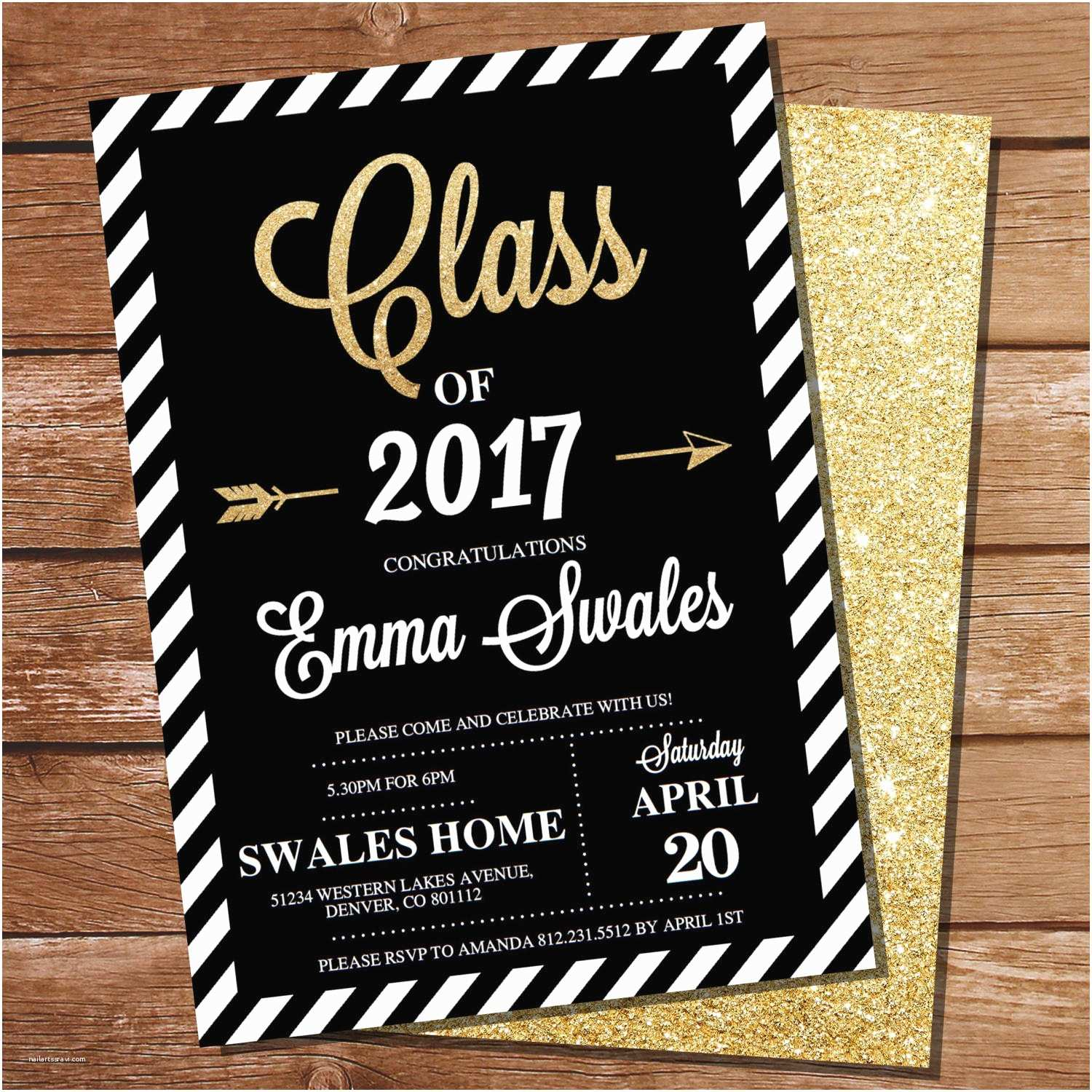Graduation Party Invitations Graduation Invitation Black and Gold Graduation Invitation