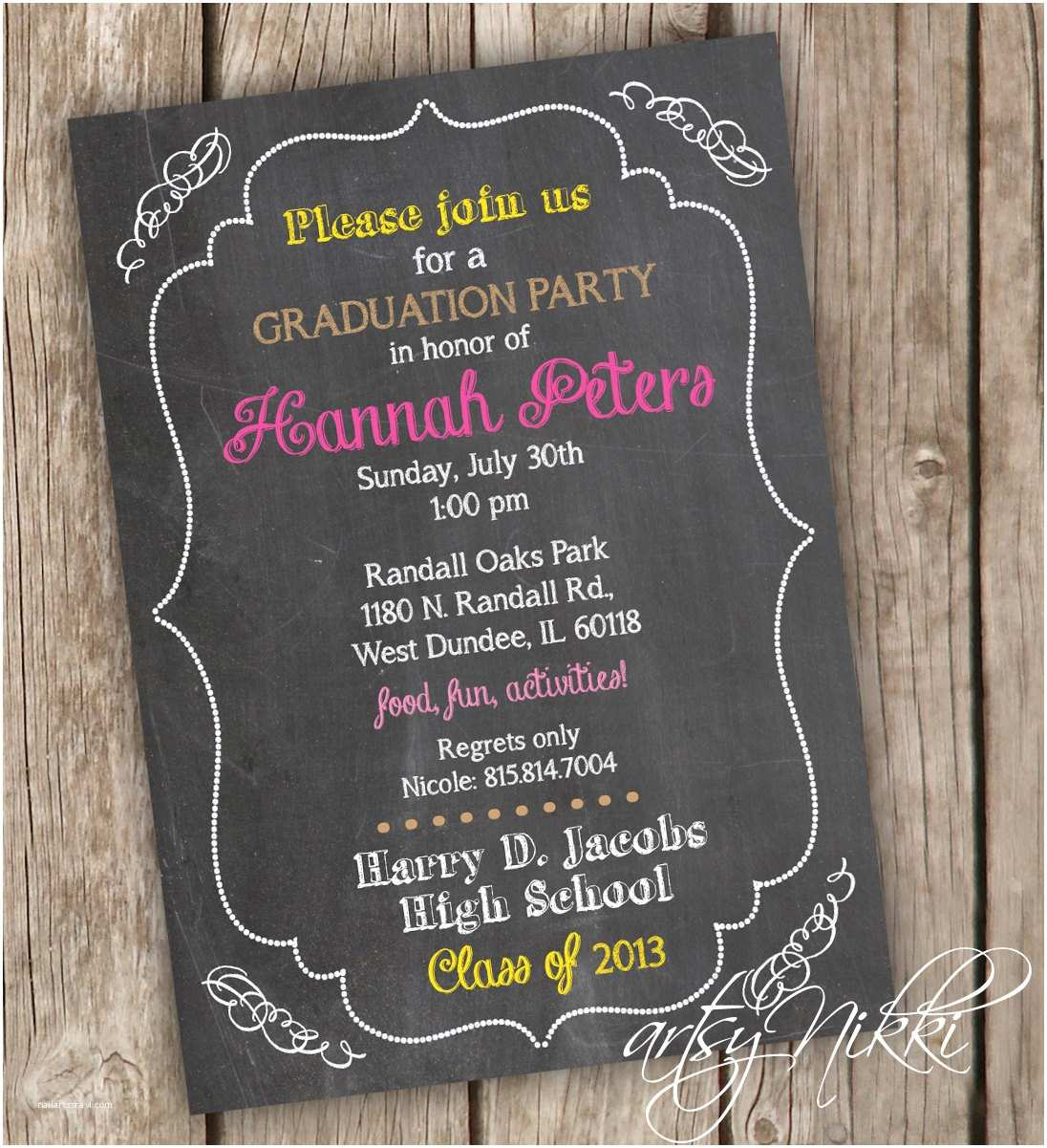 Graduation Party Invitations Graduation Party Invitation Chalkboard Style Graduation