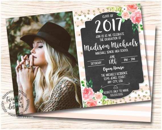 Graduation Party Invitations Ideas Floral Graduation Invitation