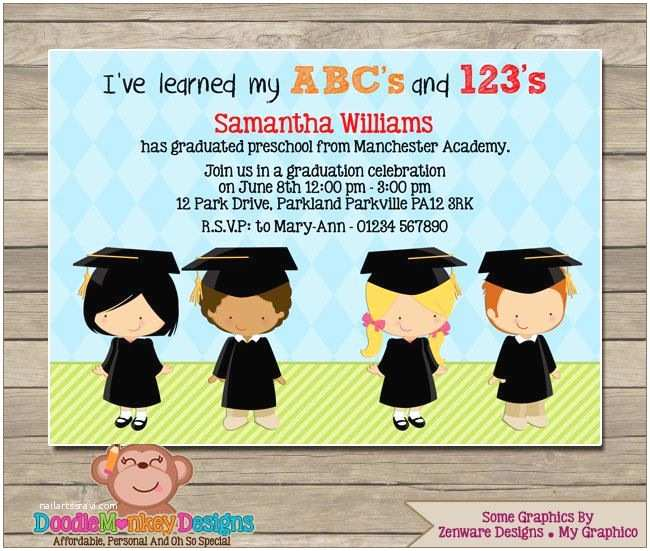 Graduation Party Invitations Ideas Preschool Graduation V1 Party Invitation Diy Printable