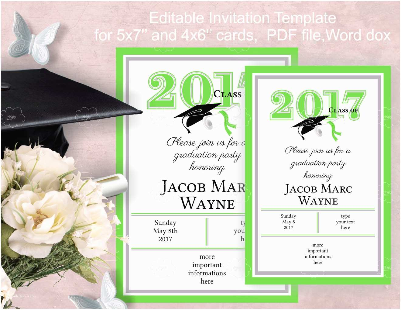 Graduation Party Invitations Templates Graduation Party Invitation Template Edit Yourself
