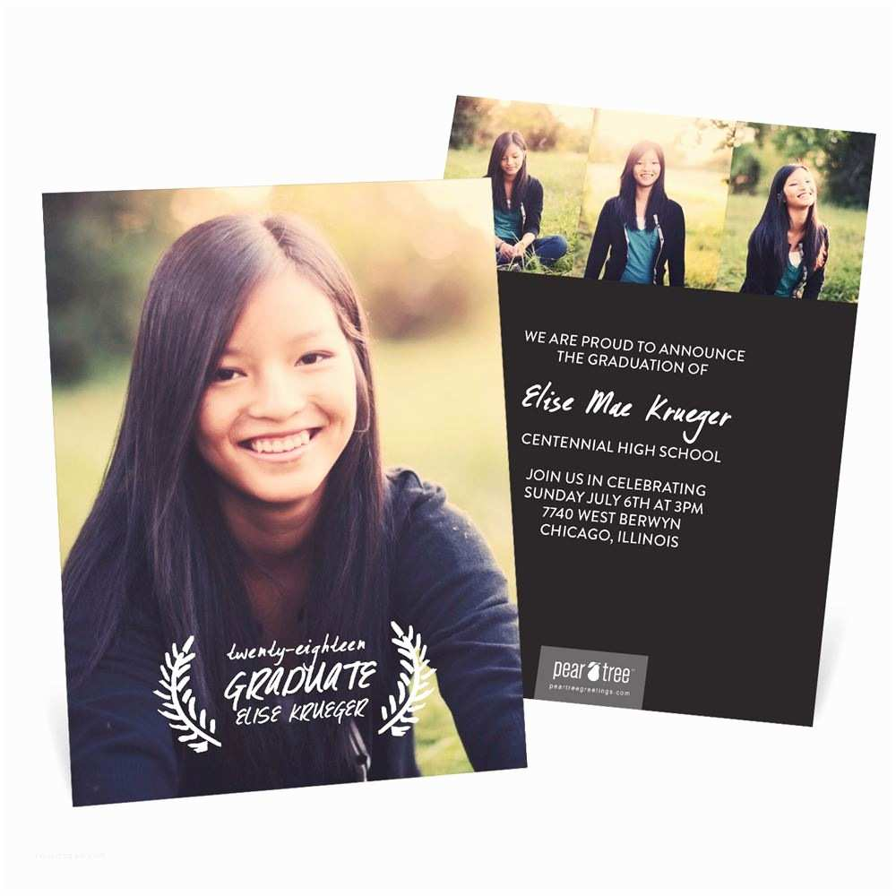 Graduation Photo Invitations Rest Your Laurels Vertical