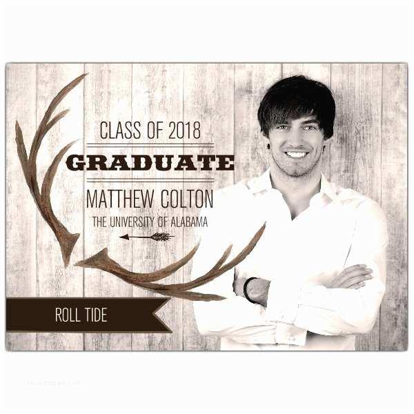 Graduation Photo Invitations Rustic Antler Banner College Graduation