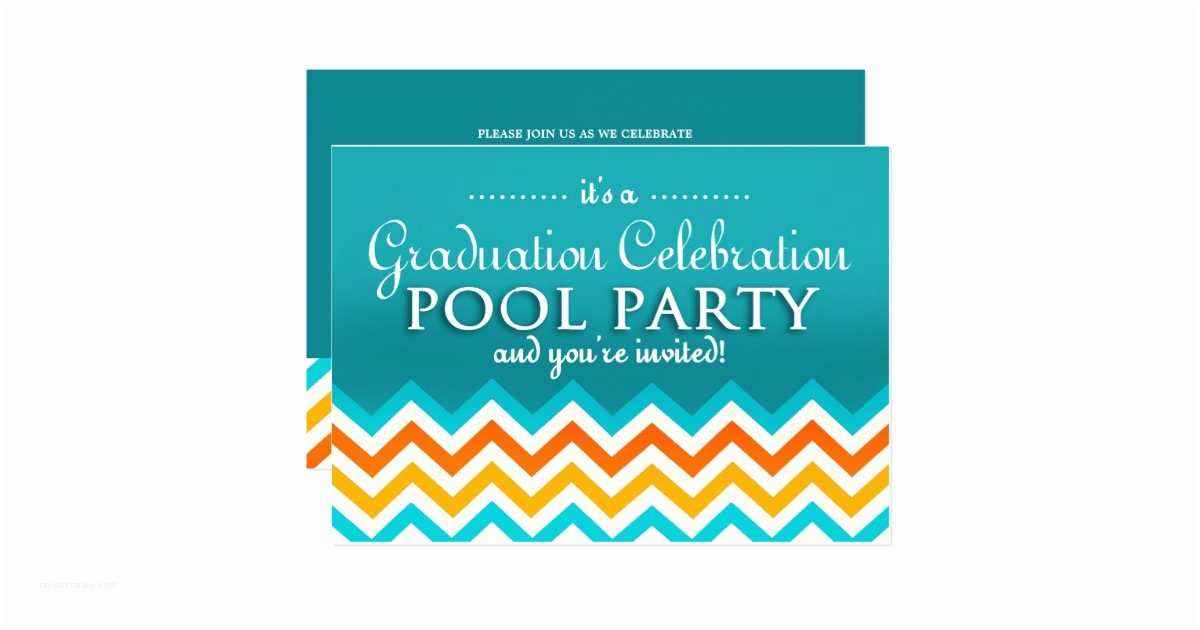 Graduation Pool Party Invitations Blue Graduation Pool Party Invitations